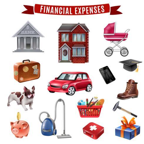 Coleção de ícones plana de despesas familiares vetor