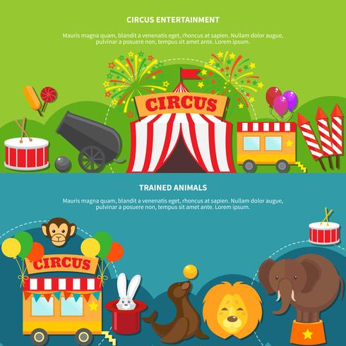 Circus entertainment  horizontal banner vector