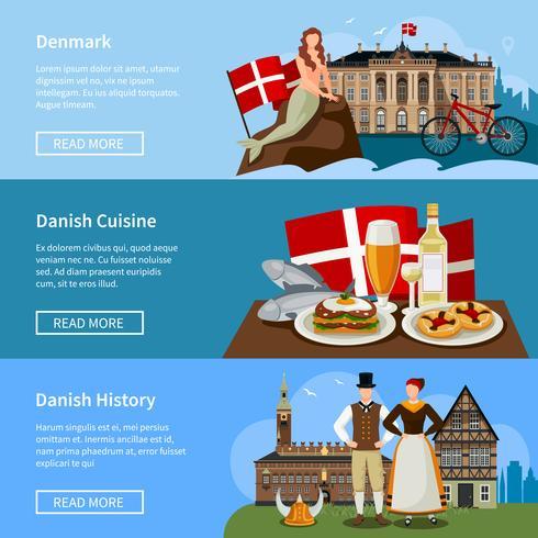 Set di bandiere piatte danesi punti di riferimento vettore