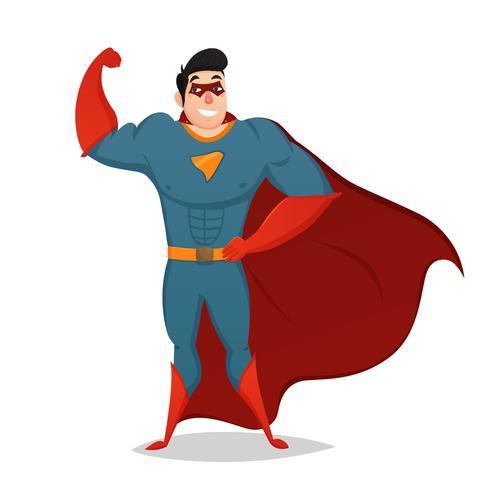 Muskulös man klädd i Superhero Kostym