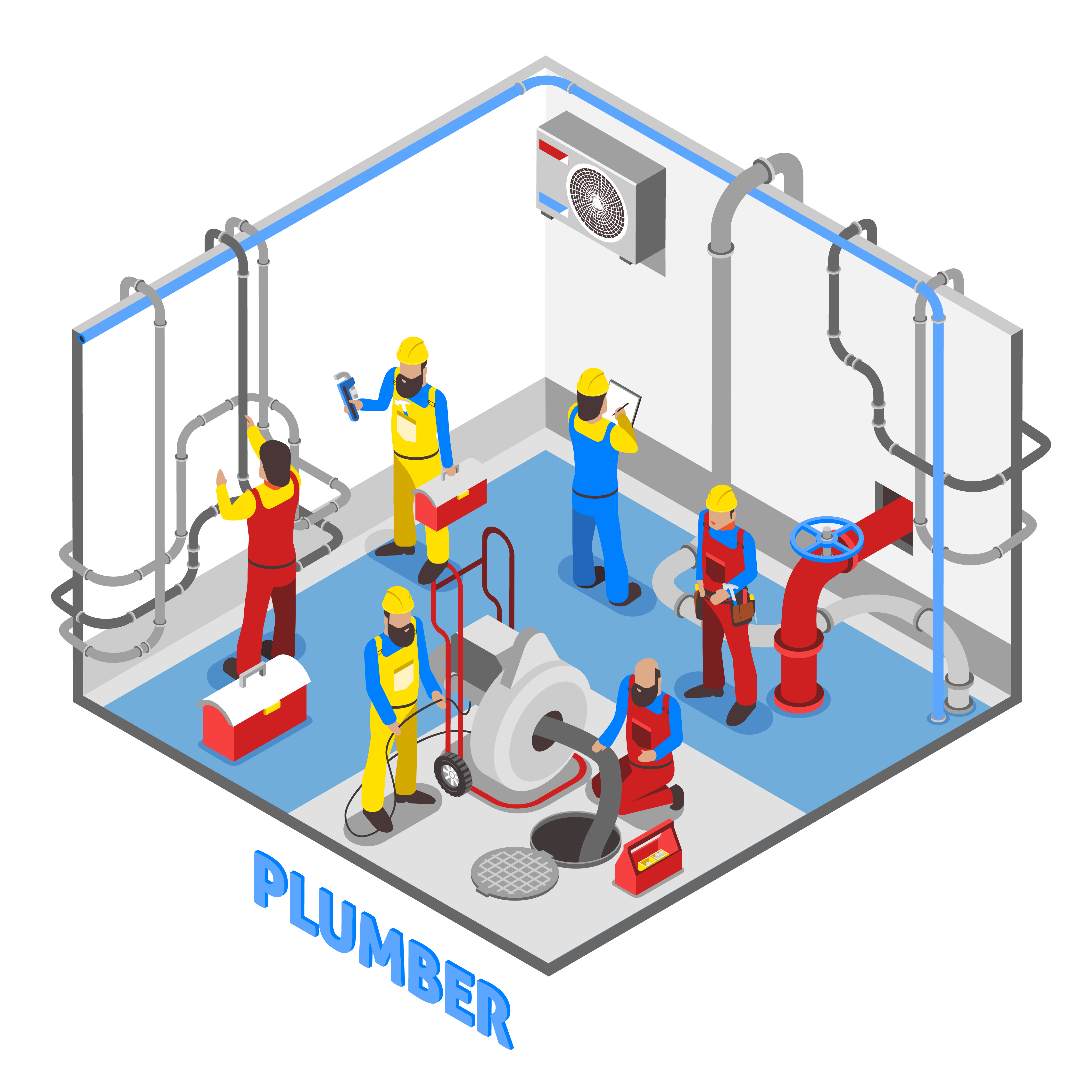Plumber Isometric People Composition Download Free