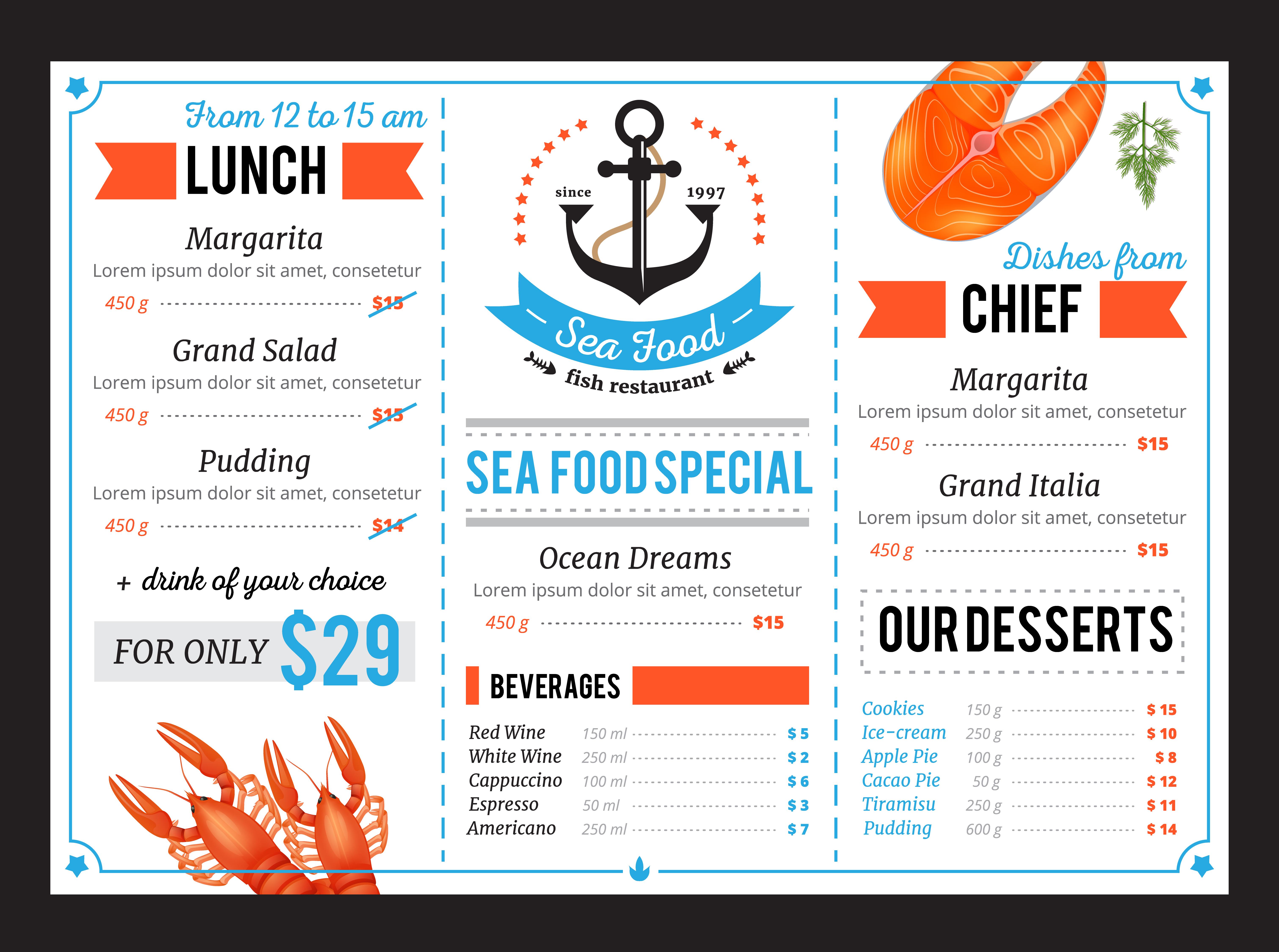 Sta Food Restaurant Menu Template Design - Download Free ...