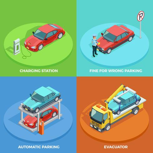 Parking Isometric Collection vector