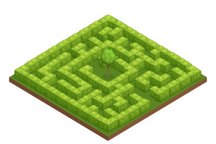 Tuin labyrint isometrische samenstelling vector
