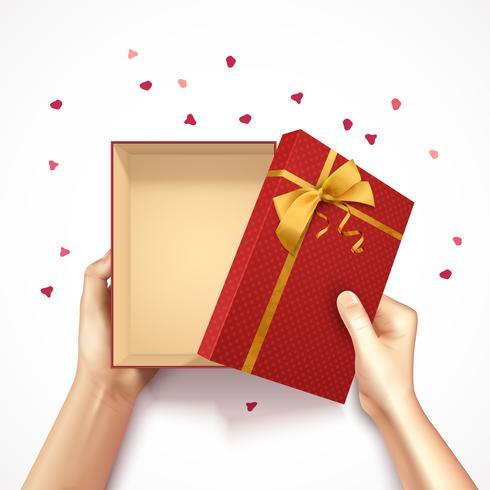 Composição de caixa de presente de confete vetor