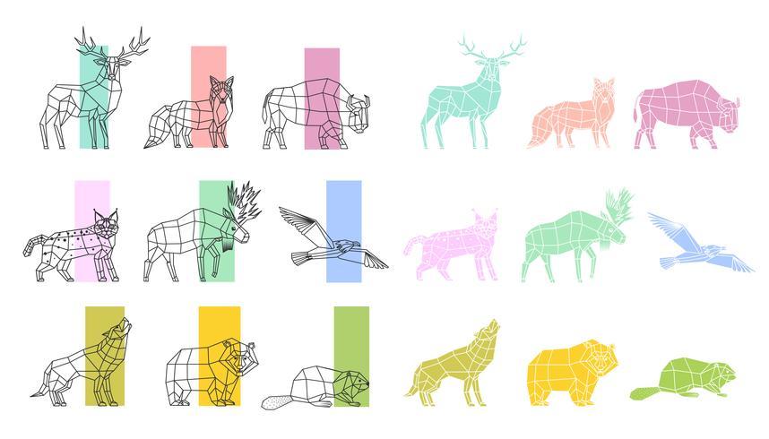 Animals Polygonal Linear Set vector