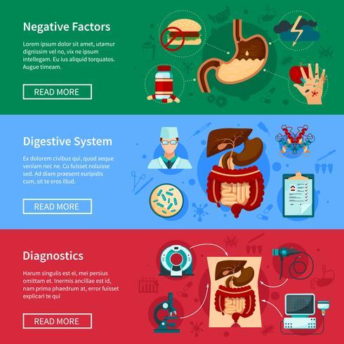 Sistema de banner plano del sistema digestivo vector