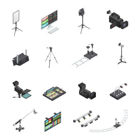 Set di icone di apparecchiature di radiodiffusione vettore
