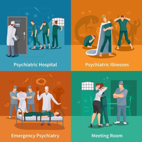Set di icone di concetto di malattie psichiatriche vettore