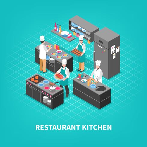 Food Court Kitchen Composition vector
