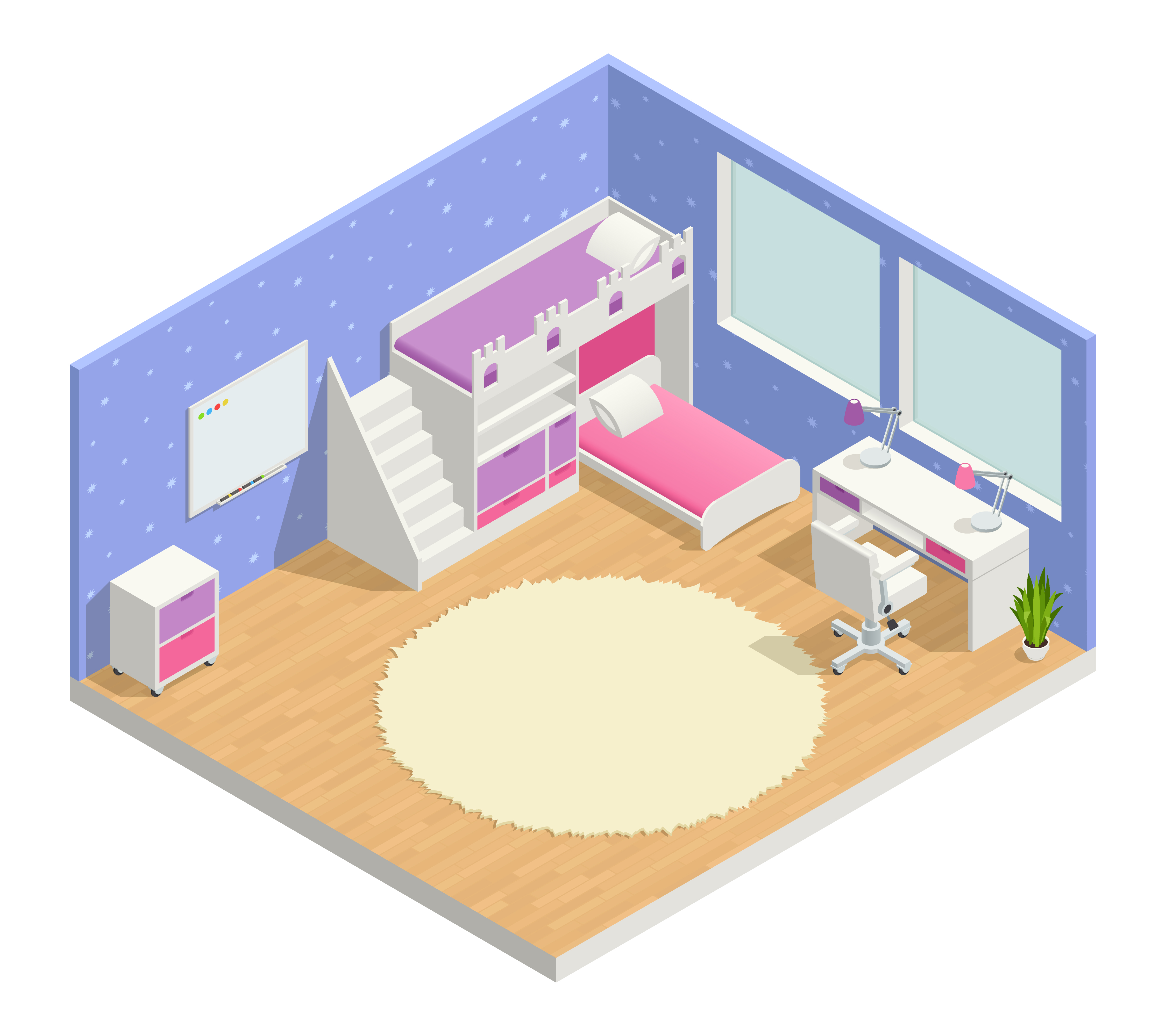 Kids Room Decoration Space Theme Vector Illustration: Children Room Isometric Composition Vector