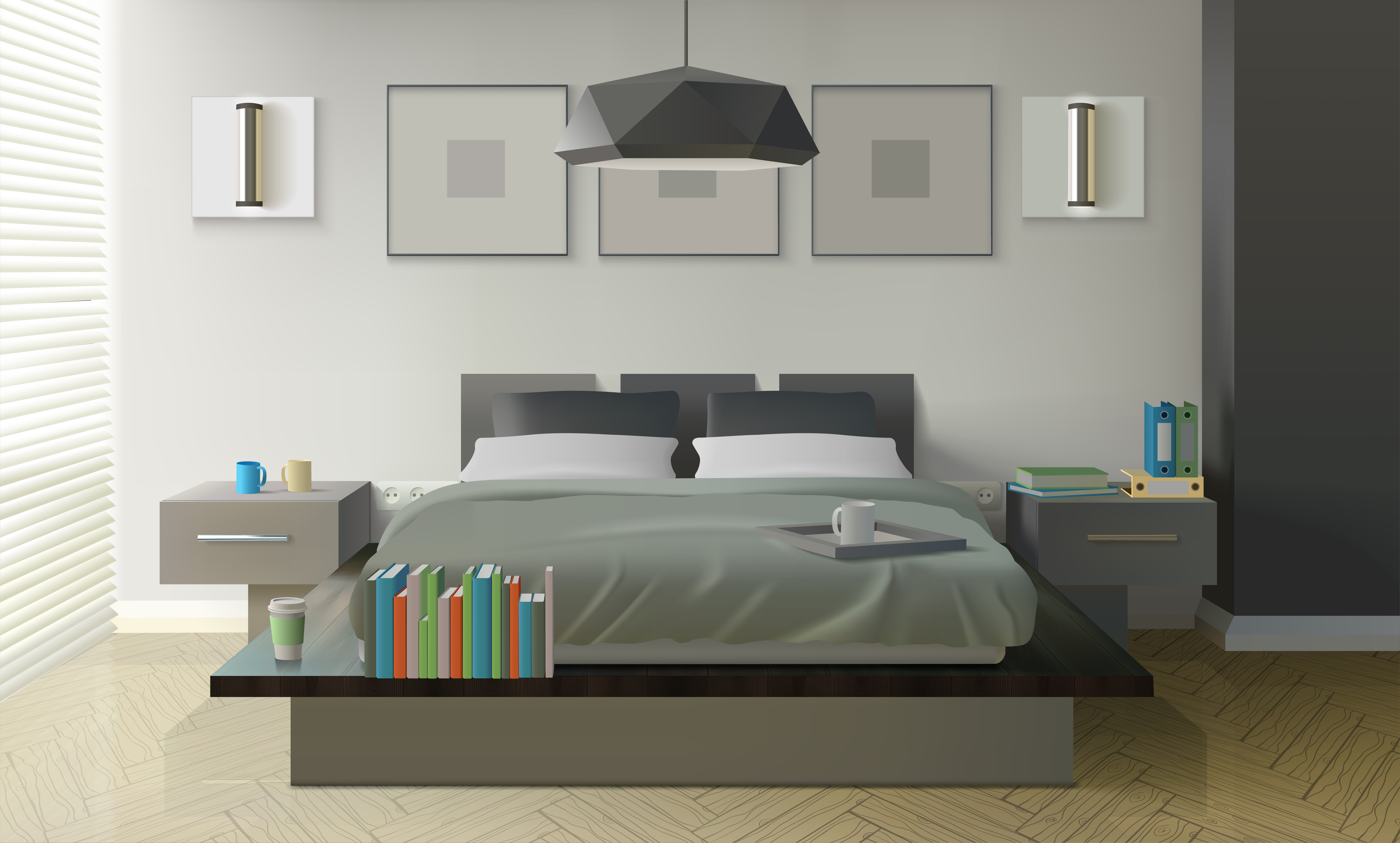 Modern Bedroom Interior Design - Download Free Vectors, Clipart