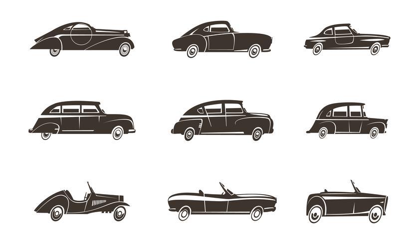 Colección de iconos retro de coche negro