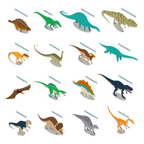 Conjunto de ícones isométrica de dinossauros vetor