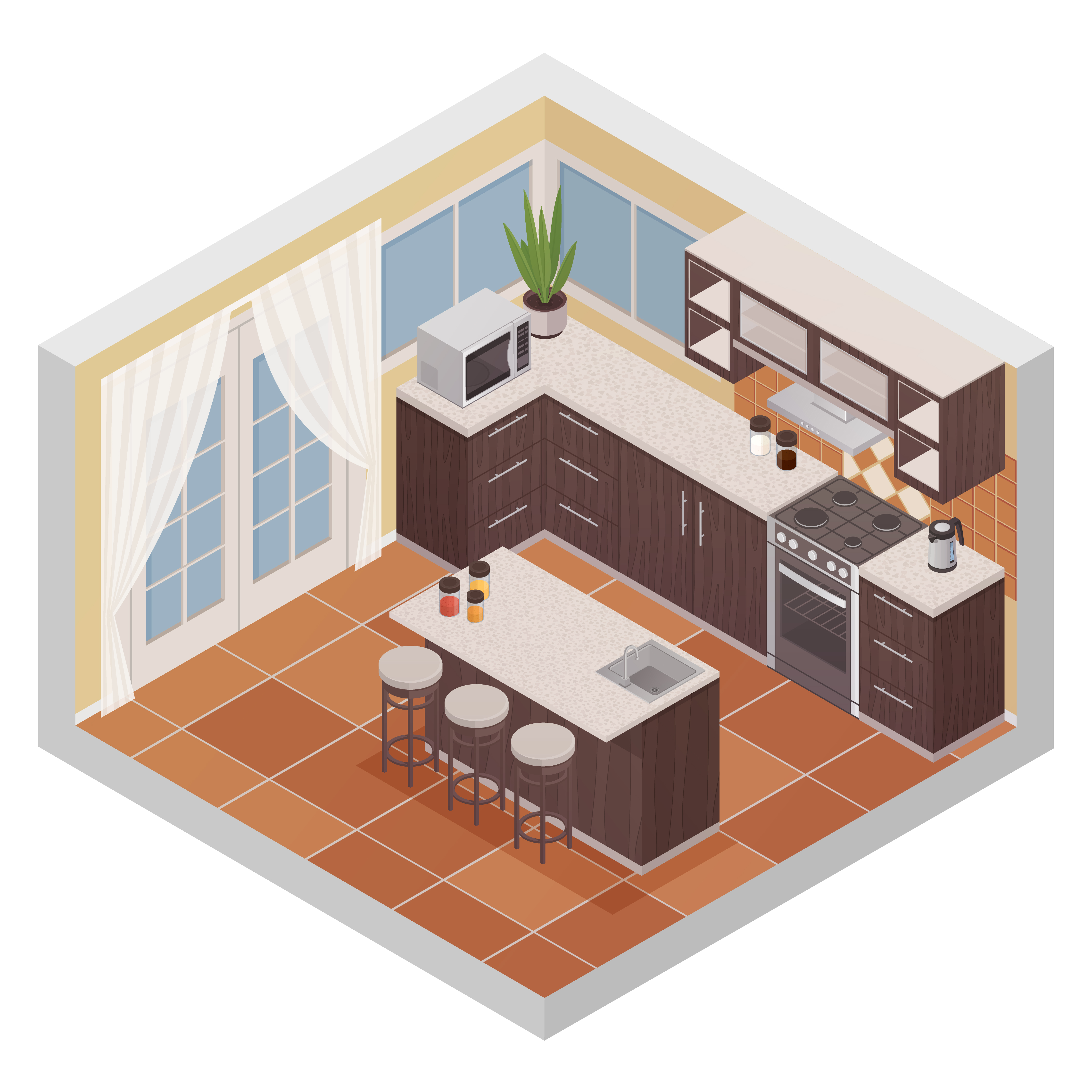kitchen interior isometric composition  download free