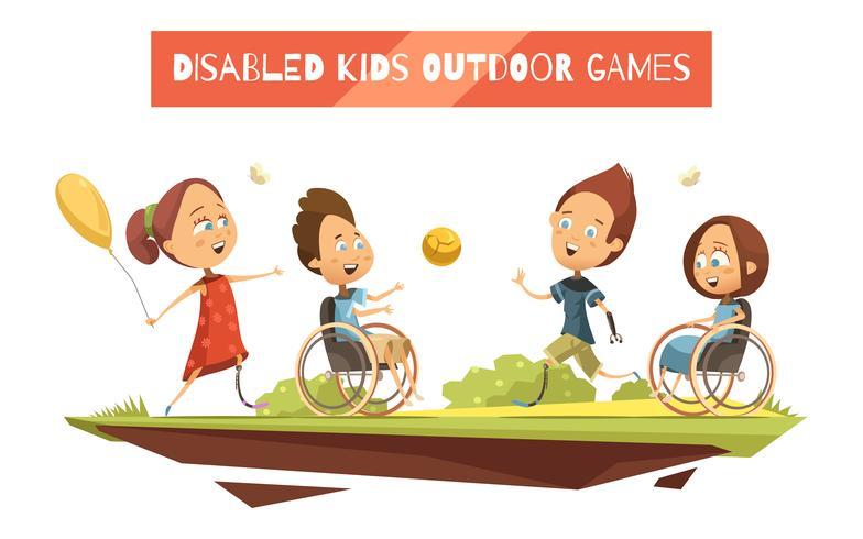 Giochi all'aperto di illustrazione di bambini disabili vettore