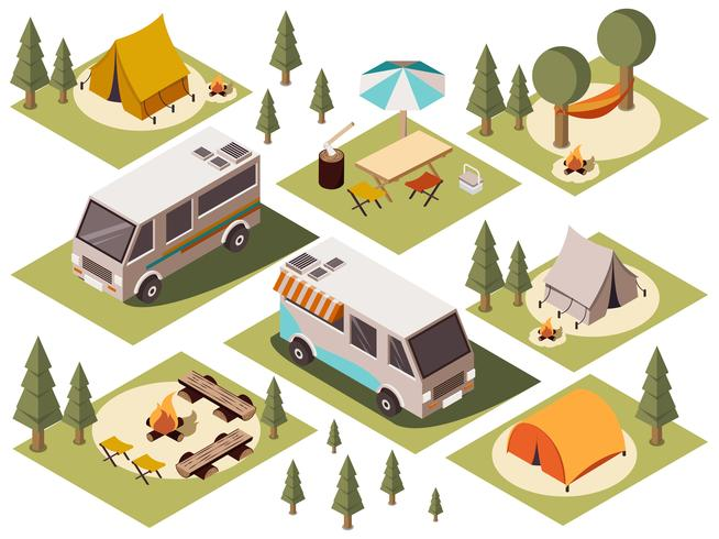 Camp Elements Isometric Set vector