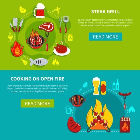 Bistecca alla griglia e cottura a fuoco aperto piatto vettore