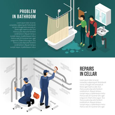 Plumber Pipeline Repair Banners vector