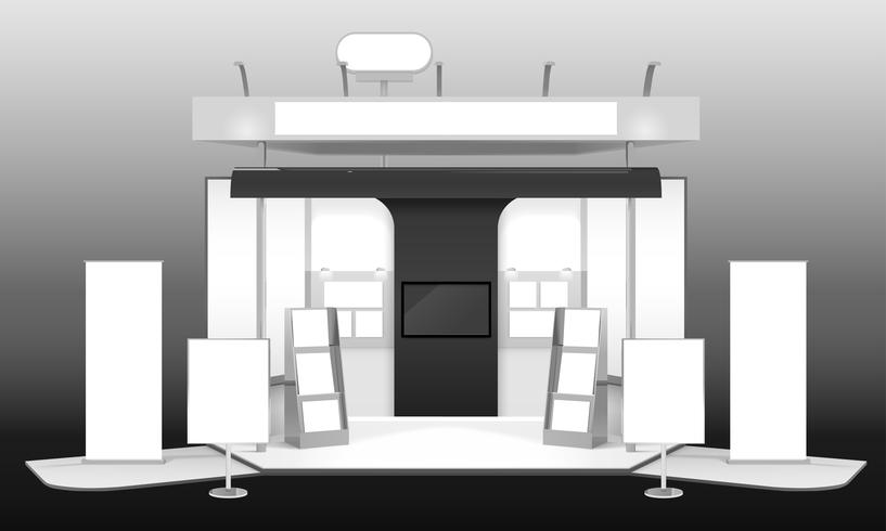 Exhibition Stand 3D Design Mockup vector
