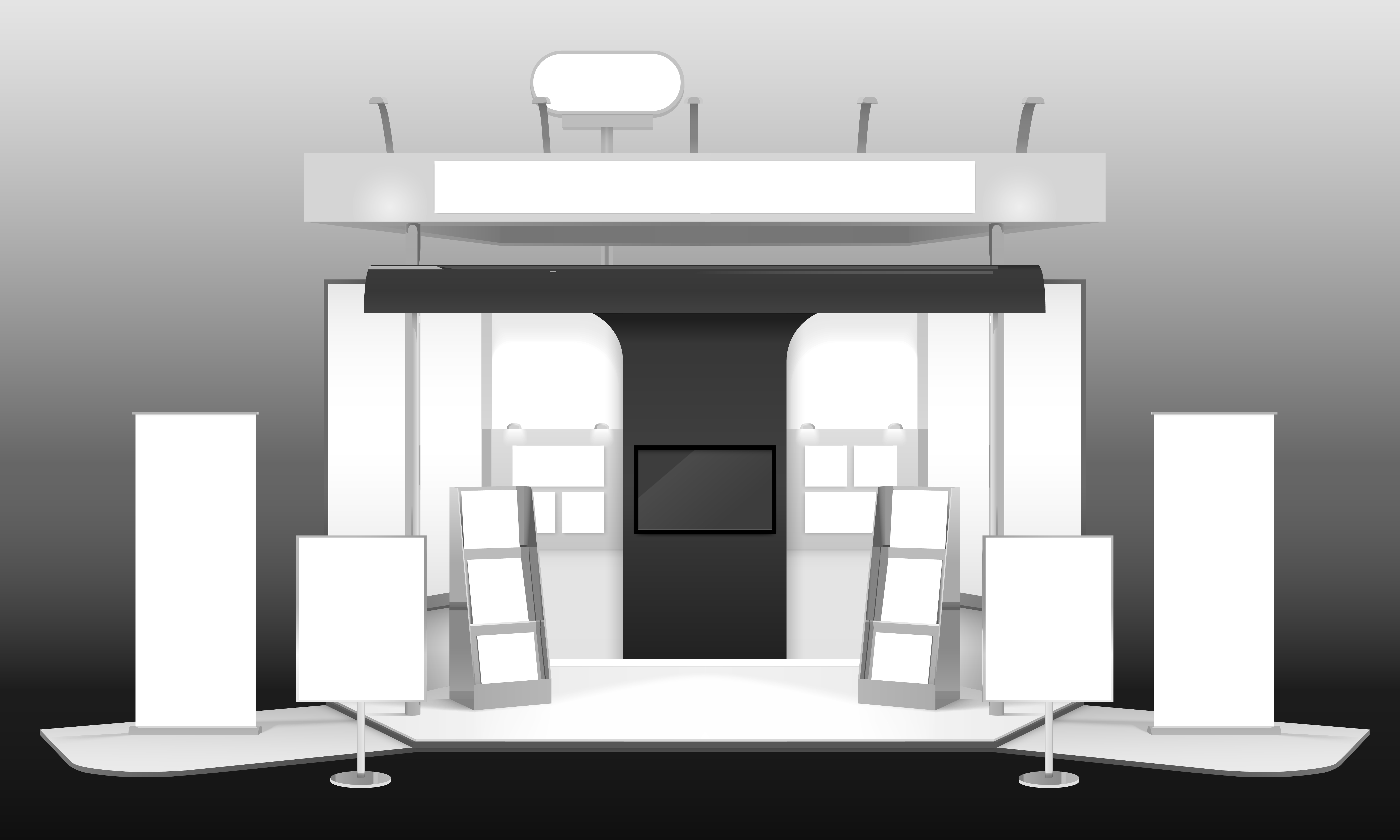 Exhibition Stand White : Exhibition stand d design mockup download free vector art