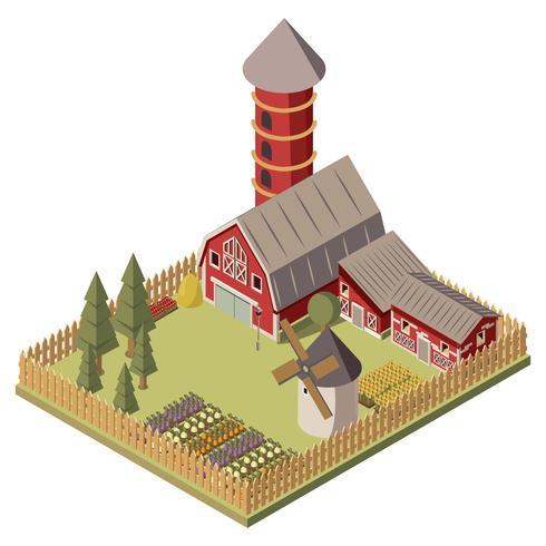Projeto isométrico de fazenda