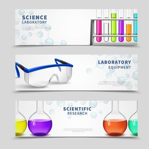 Set di banner di scienza di laboratorio