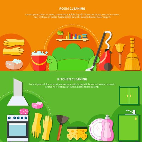 Cleaning Tools Banners Set vector