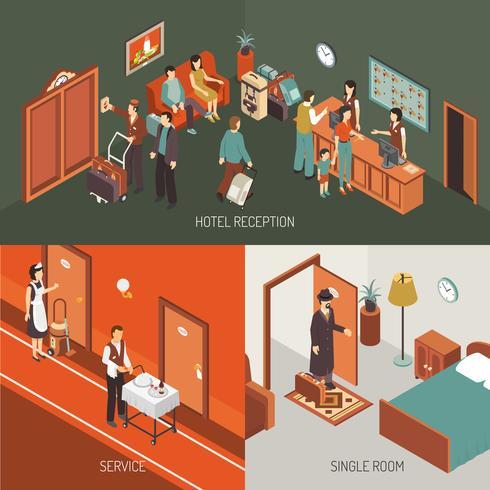 Cartel del diseño isométrico del concepto del hotel vector