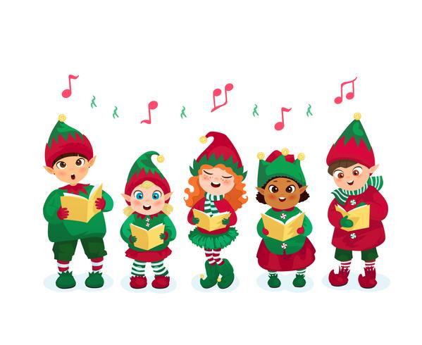 Caroling niños conjunto vector
