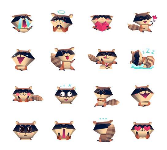 Grande set di icone di personaggio dei cartoni animati di procione vettore