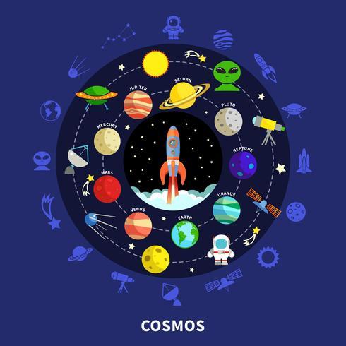 illustrazione del concetto di cosmo vettore