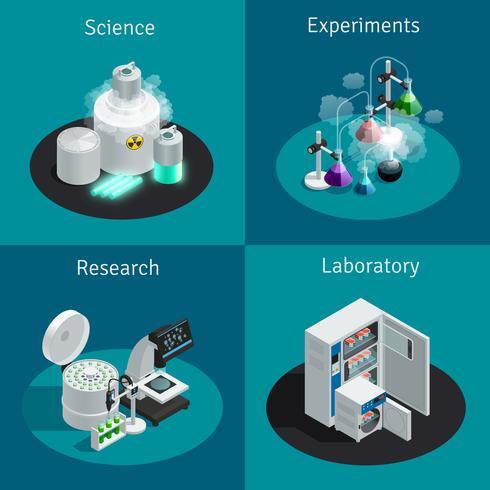Vetenskapligt laboratorium 2x2 isometrisk designkoncept vektor