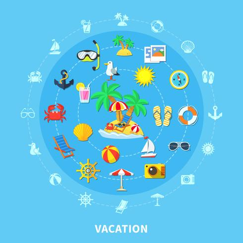 Summer Travel Icons Sammansättning vektor