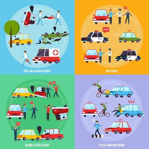 Road ongeval Concept Icons Set vector