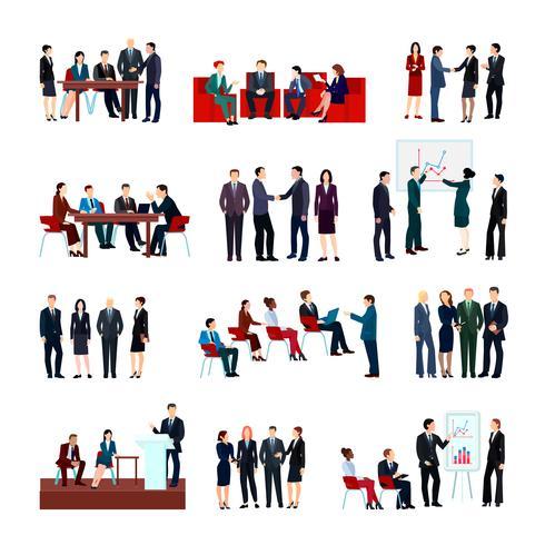 Set de réunions d'affaires vecteur