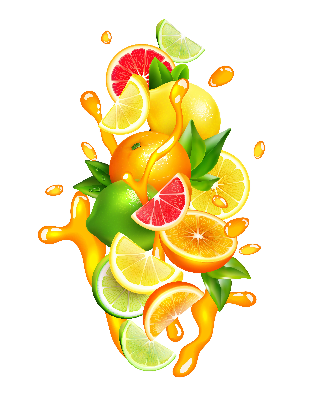 Citrus Fruits Juice Drops Colorful Composition 482905