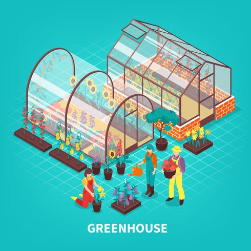 Greenhouse Isometric Composition vector