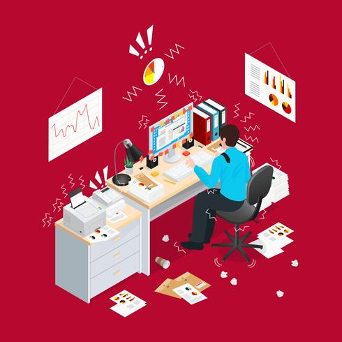 Deadline Office Isometric Composition vector