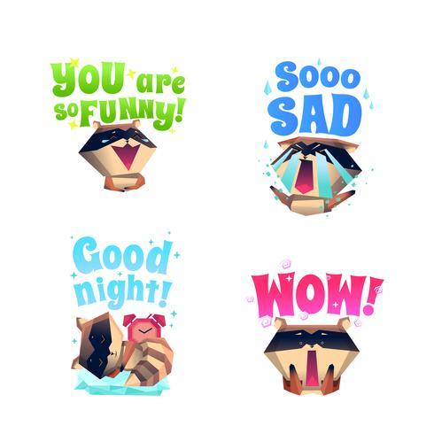 Raccoon Mood 4 Cartoon pictogrammen samenstelling