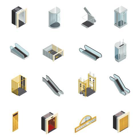 Aufzug isometrische Elementsatz