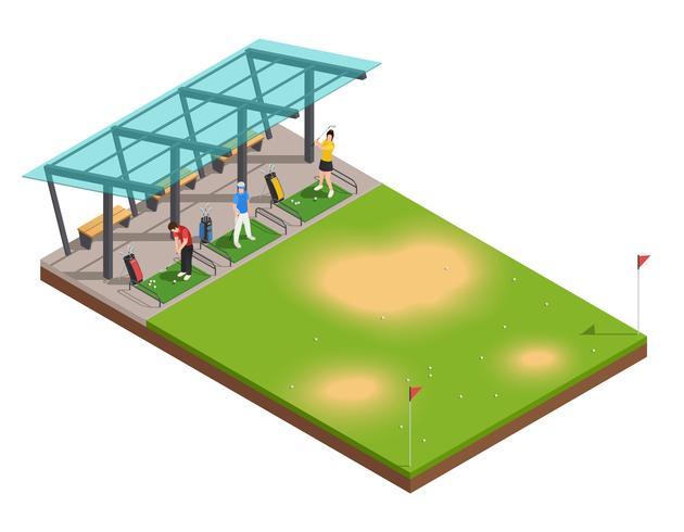 Composizione isometrica di allenamento di golf vettore