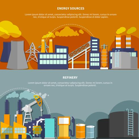 Illustration with energy sources and refinery vector