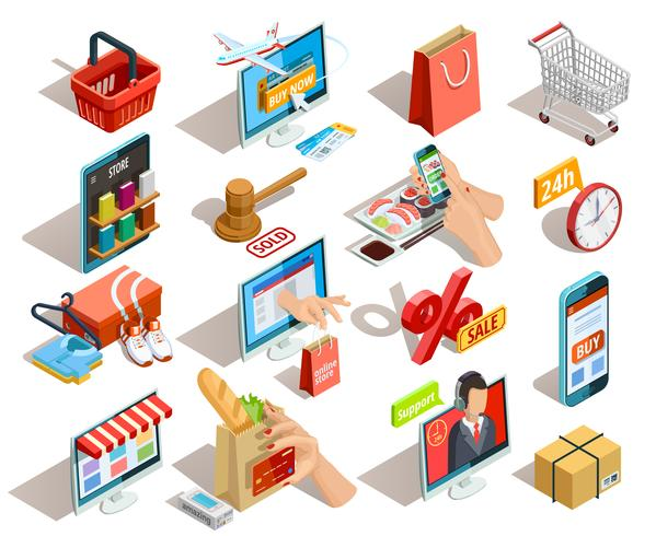 Winkelen E-commerce isometrische Icons Set vector
