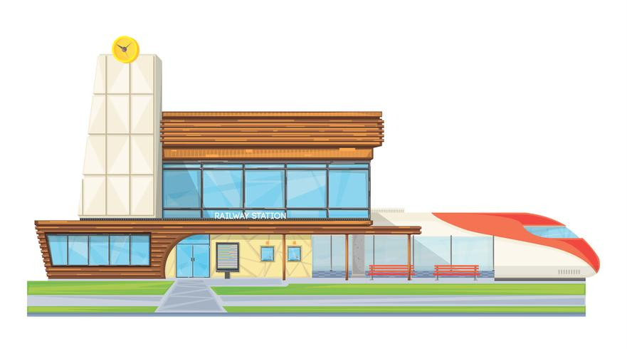 Modern Railway Station Flat Front View  vector