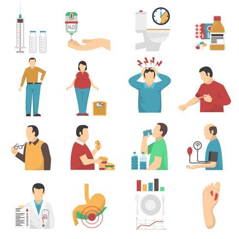 Set di icone di sintomi del diabete vettore