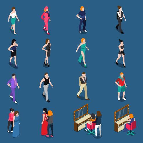 Fashion Models Isometric Set vector