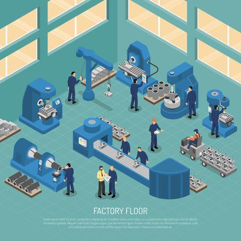 Cartaz isométrico da facilidade de produção da indústria pesada vetor