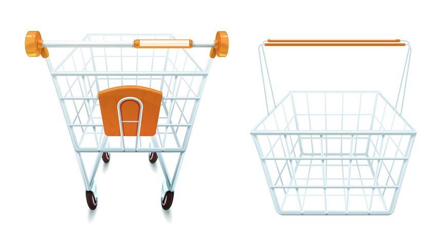 Carrinho de compras vazio e conjunto de cesta