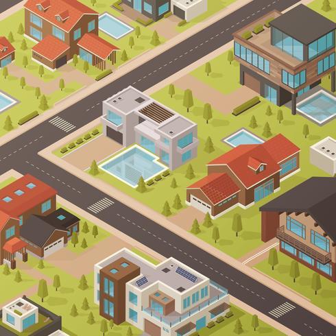 Isometrische huisachtergrond